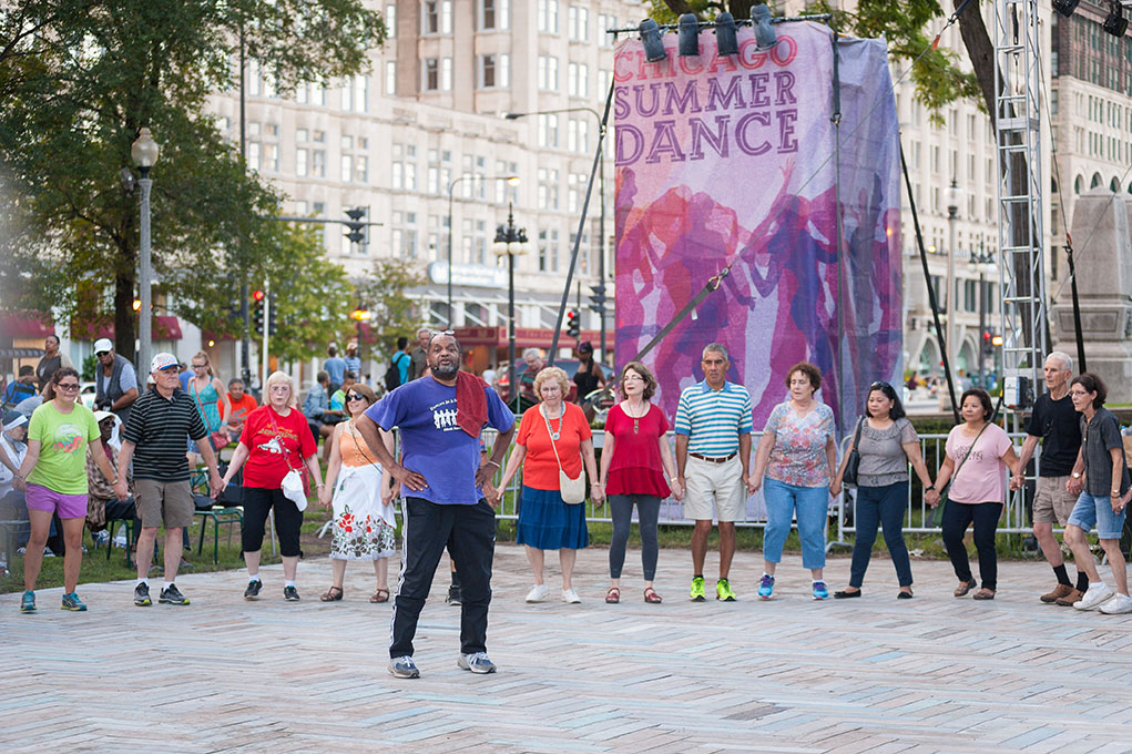 Instructor and participants at SummerDance in Grant Park